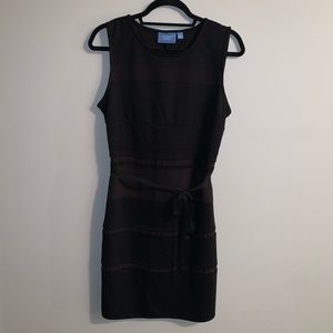Vera Wang layered and belted little black dress